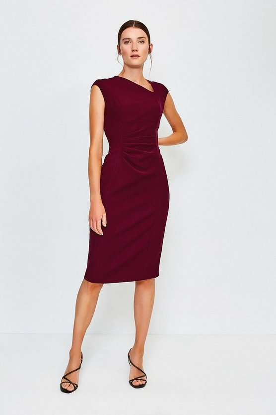 Wine Asymetric Tuck Detail Dress