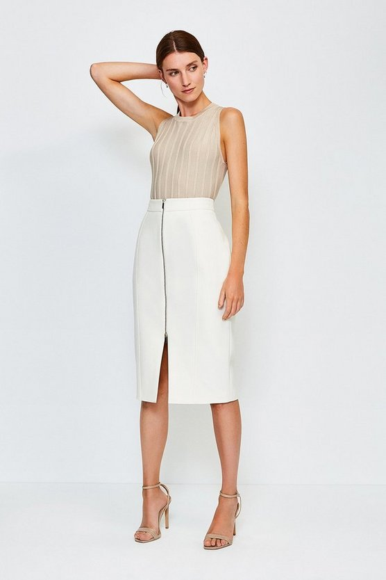 Ivory Zip Front Pencil Skirt