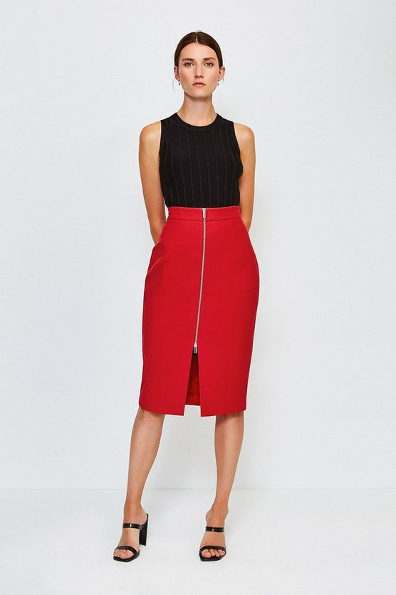 Red Zip Front Pencil Skirt
