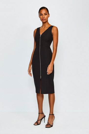 Black Zip Front Pencil Dress