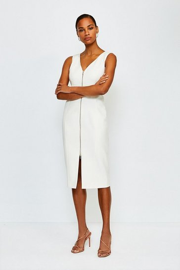 Ivory Zip Front Pencil Dress