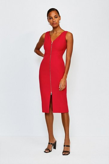 Red Zip Front Pencil Dress