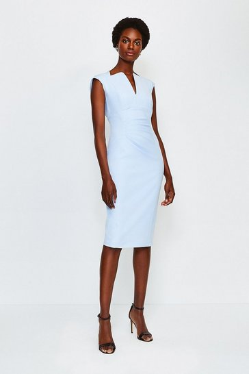 Pale blue Cotton Blend Envelope Neck Pencil Dress