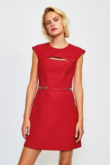 Red Chain Belt A-Line Dress