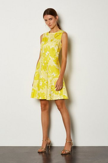 Yellow Floral A-Line Dress