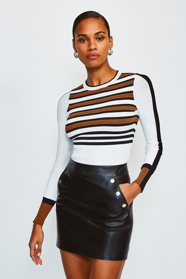 Ivory Bold Stripe Knit Jumper