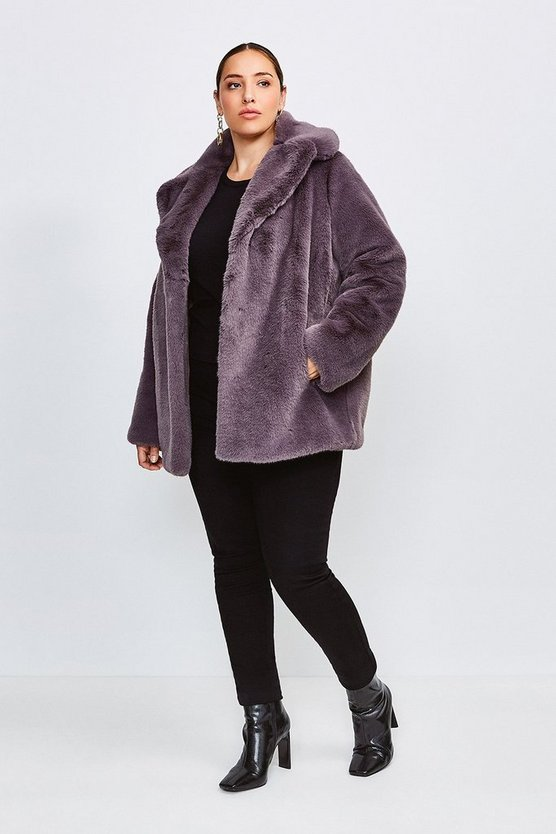 Mink Curve Wide Collar Faux Fur Jacket
