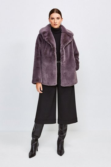 Mink Wide Collar Faux Fur Jacket