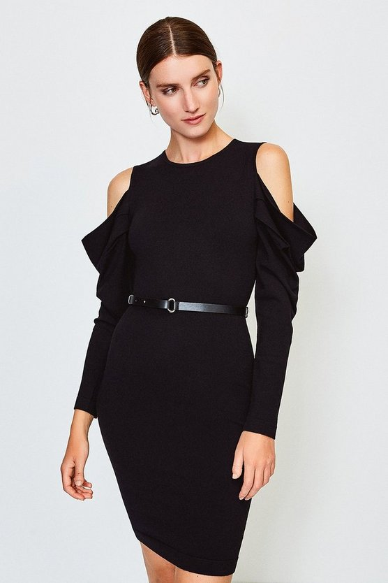 Black Cold Shoulder Knitted Dress