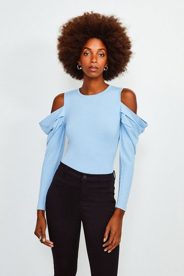 Pale blue Cold Shoulder Knitted Top