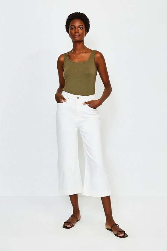 White Denim Wide Leg Cropped Jean