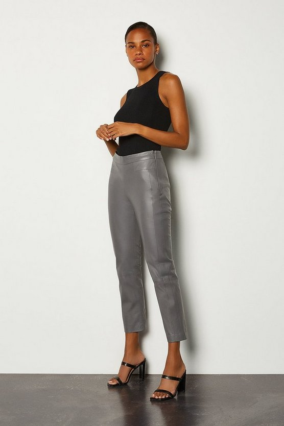 Grey Leather Colour Block Trouser