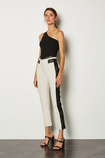 Mono Leather Colour Block Trouser