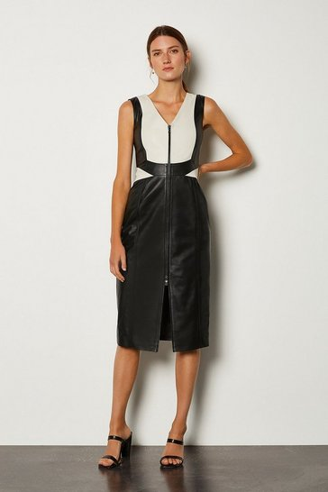Mono Leather Colour Block Dress
