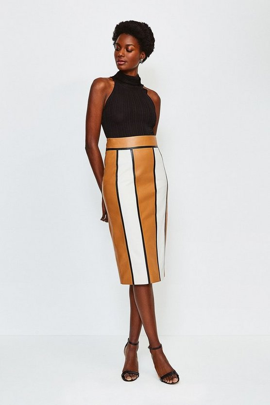 Camel Leather Panelled Colour Block Skirt