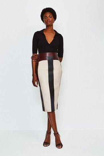 Black Leather Stripe Colour Block Skirt