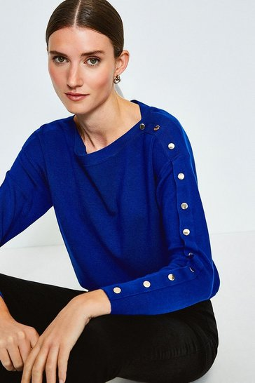 Cobalt Gold Popper Slouchy Jumper