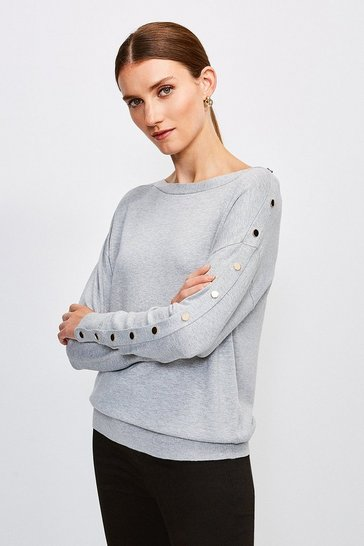Grey Gold Popper Slouchy Jumper