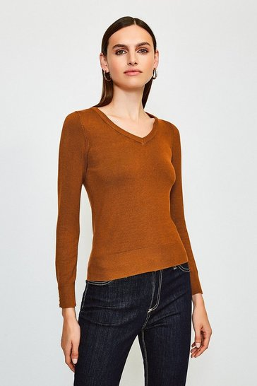 Cashew Gold Popper V Neck Jumper