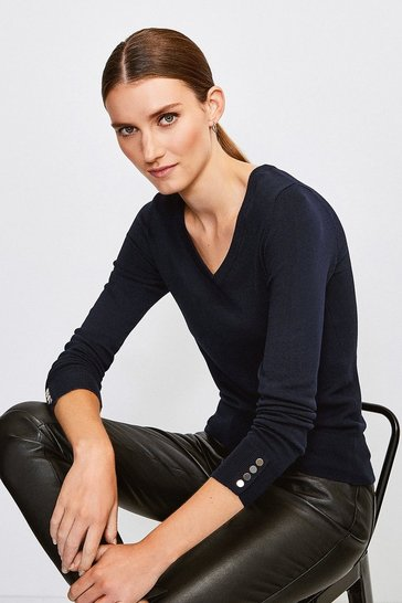 Navy Gold Popper V Neck Jumper