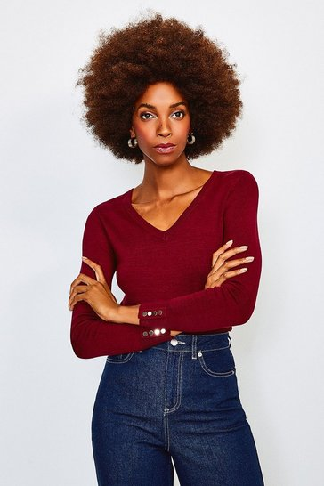 Red Gold Popper V Neck Jumper