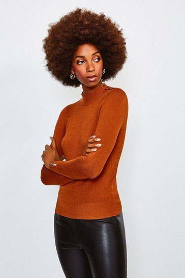 Cashew Gold Popper Turtle Neck Jumper