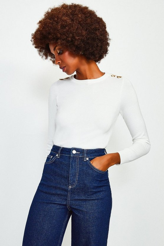 Ivory Trim Detail Knitted Jumper