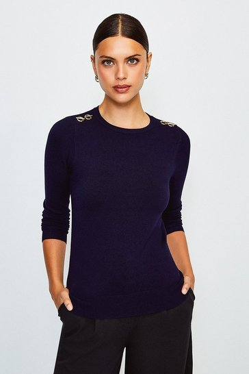 Navy Trim Detail Knitted Jumper