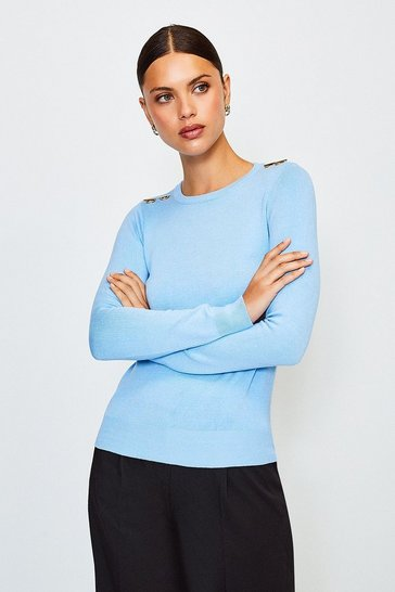 Pastel blue Trim Detail Knitted Jumper