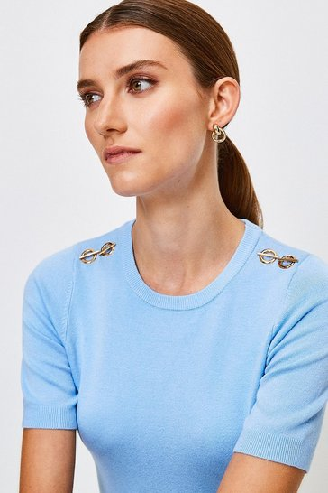 Pale blue Short Sleeve Trim Detail Knitted Top