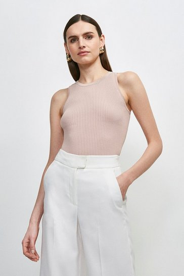 Blush Knitted Rib Crew Neck Vest Top