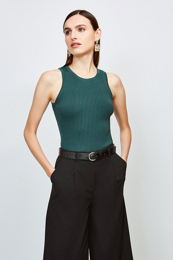 Dark green Knitted Rib Crew Neck Vest Top