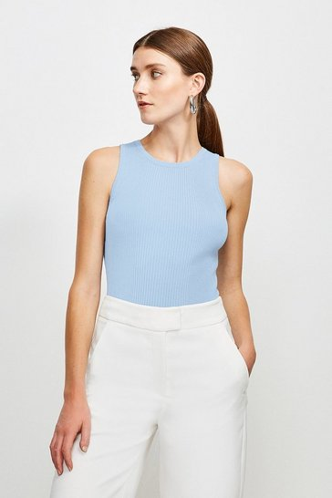 Mid blue Knitted Rib Crew Neck Vest Top