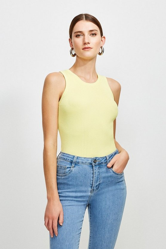Yellow Knitted Rib Crew Neck Vest Top