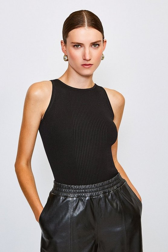 Black Knitted Rib Cut Away Vest Top