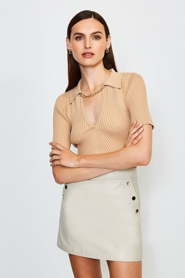 Cappucino Knitted Rib Chain Detail Collared Top
