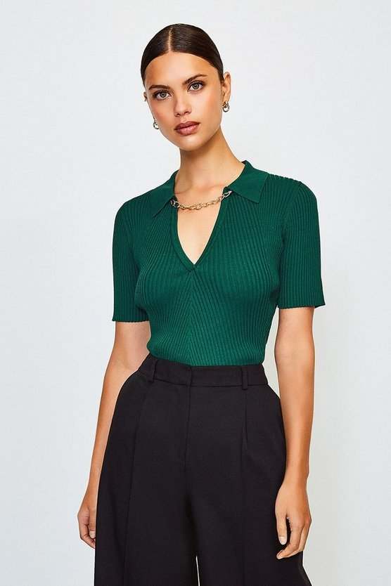 Dark green Knitted Rib Chain Detail Collared Top