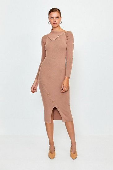 Brown Button Detail Envelope Neck Knitted Dress