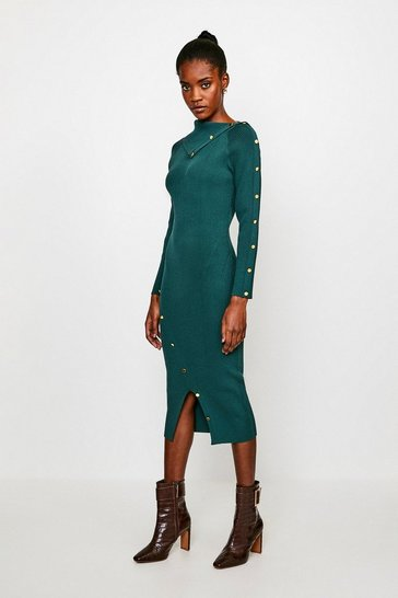 Dark green Button Detail Envelope Neck Knitted Dress