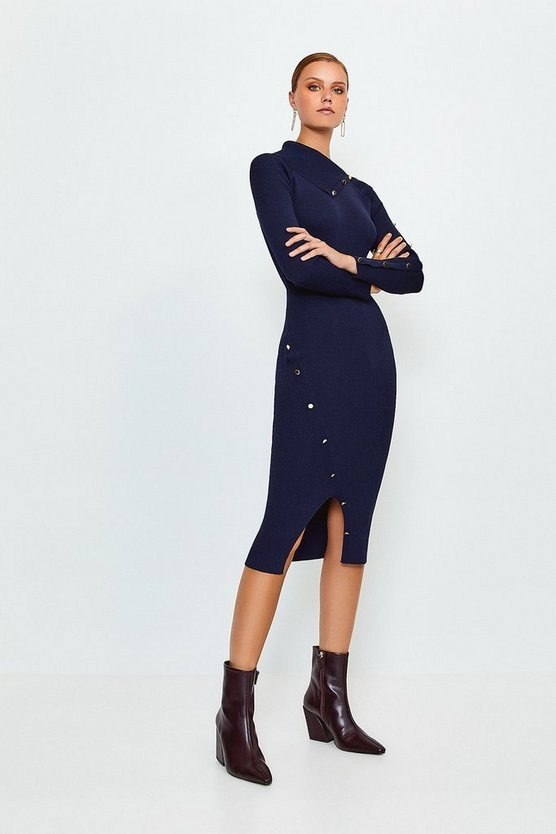 Navy Button Detail Envelope Neck Knitted Dress