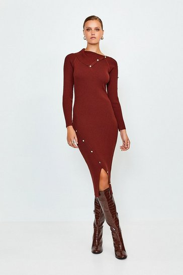 Rust Button Detail Envelope Neck Knitted Dress