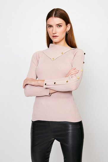 Blush Button Detail Envelope Neck Knitted Jumper