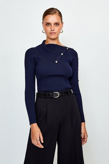 Navy Button Detail Envelope Neck Knitted Jumper