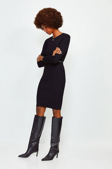 Black Knitted Rib Dress With Skinny Belt