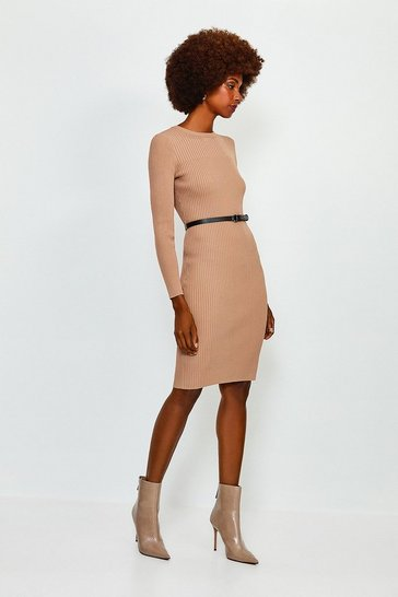 Brown Knitted Rib Dress With Skinny Belt