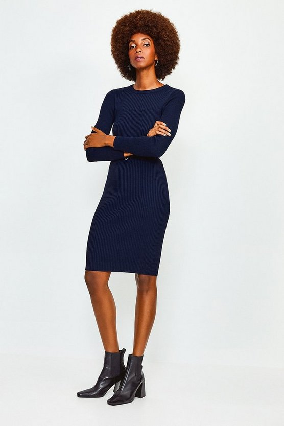 Navy Knitted Rib Dress With Skinny Belt