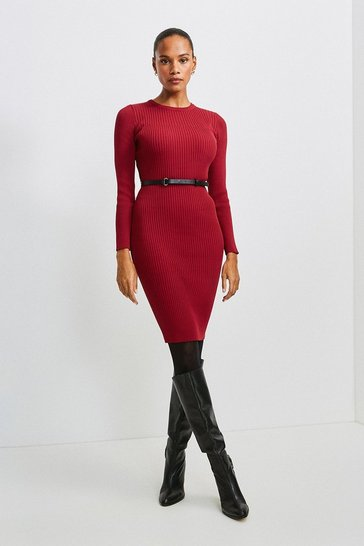 Red Knitted Rib Dress With Skinny Belt
