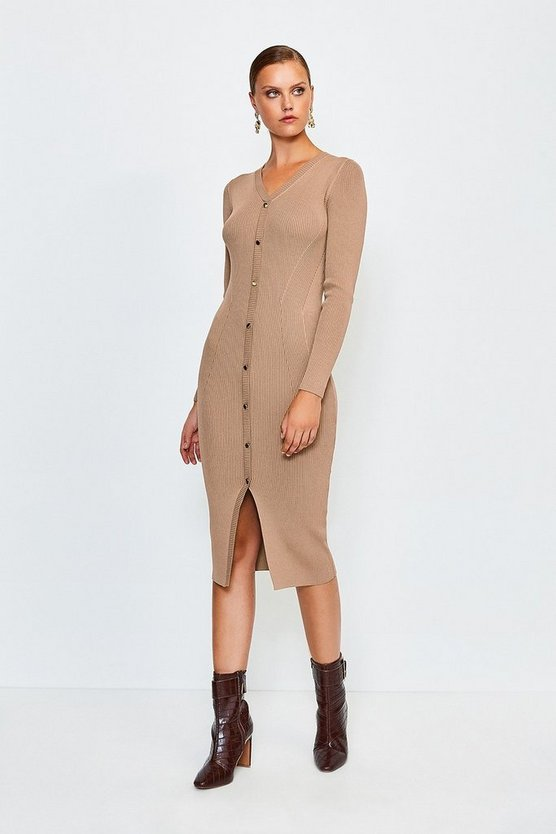 Brown Button Detail Knitted Rib Dress