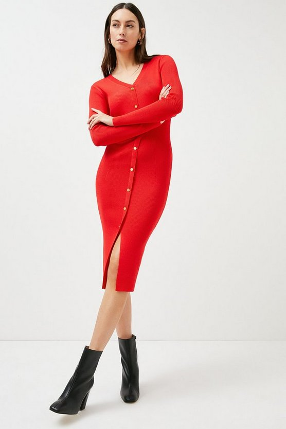 Red Button Detail Knitted Rib Dress