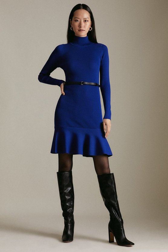 Cobalt Knitted Roll Neck Belted Flippy Hem Dress